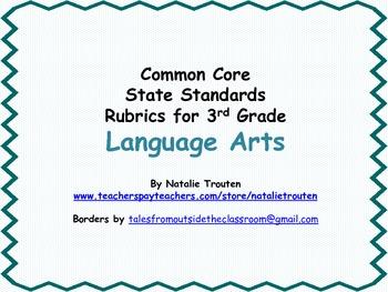 Common Core English Language Arts Rubrics for 3rd Grade