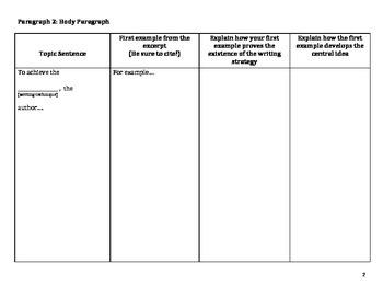 Common Core English Regents Exam Task 3 Organizer