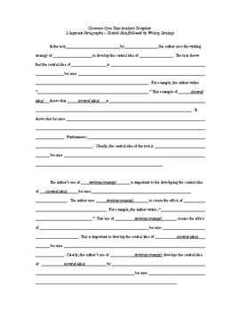 Common Core English Regents Exam Text Analysis Response Template