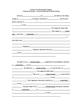 Common Core English Regents Exam Text Analysis Response Template