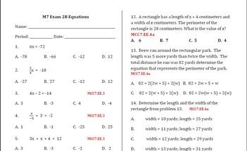Common Core - Equations Exam