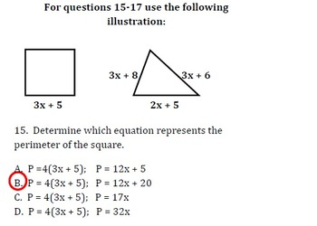 Common Core - Equations Exam