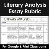 Writing Rubric for Literary Analysis Essays