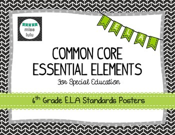 Common Core Essential Elements 6th Grade E.L.A Posters