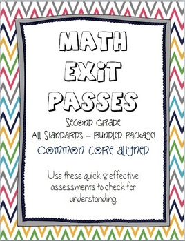 Common Core Exit Passes ~ Second Grade Math ~ Bundled Package