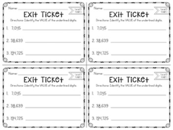 Common Core Exit Slips: Fourth Grade Place Value