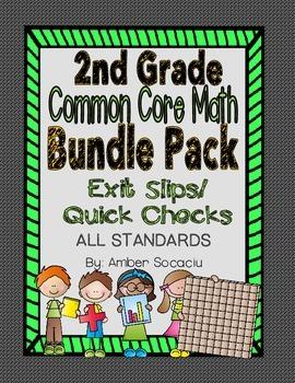 Common Core Exit Slips/Quick Checks for 2nd Grade BUNDLE