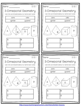 Common Core Exit Slips/Quick Checks for 2nd Grade Geometry