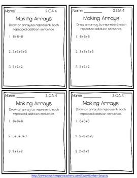 Common Core Exit Slips/Quick Checks for 2nd Grade OA