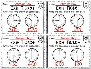 Common Core Exit Tickets: First Grade Measurement and Data