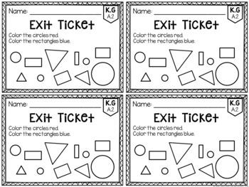 Common Core Exit Tickets: Kindergarten Geometry
