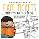 Common Core Exit Tickets: Kindergarten Informational Text