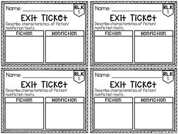 Common Core Exit Tickets: Kindergarten Literature
