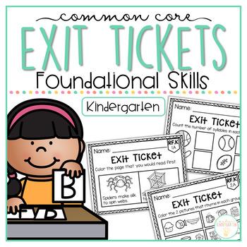 Common Core Exit Tickets: Kindergarten Reading Foundational Skills