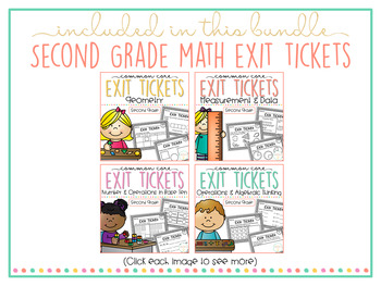 Common Core Exit Tickets: Second Grade Math Bundle