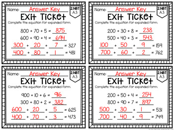 Common Core Exit Tickets: Second Grade Numbers in Base Ten