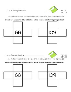 Common Core Exit Tickets/Slips First Grade Math NBT Quick Assessment