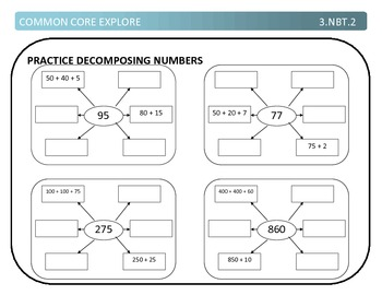 Common Core Explore 3.nbt.2 adding and subtracting with strategies