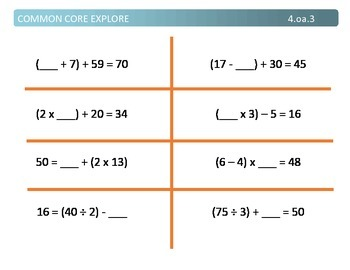 Common Core Explore 4.oa.3 solving multi-step problems