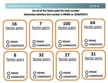 Common Core Explore 4.oa.4 factors and multiples
