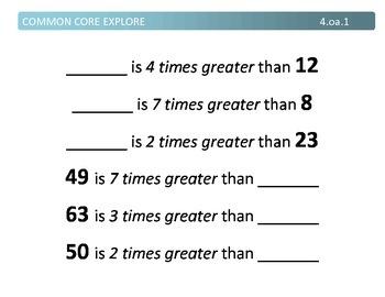 Common Core Explore 4.oa Operations and Algebraic Thinking