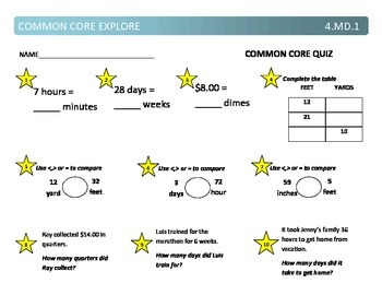 Common Core Explore 4.md.1 converting units