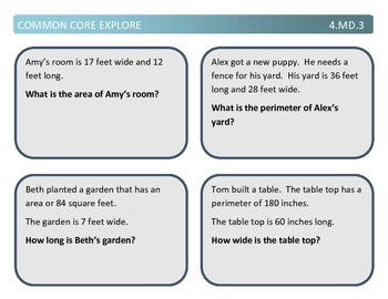 Common Core Explore 4.md.3 perimeter and area