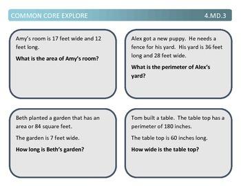 Common Core Explore 4.md.3 perimeter and area