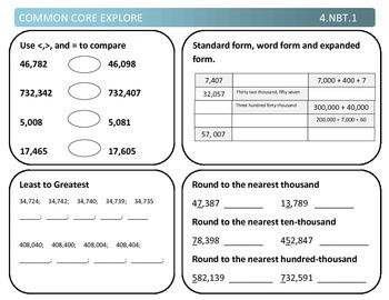 Common Core Explore 4.nbt.1 Understanding Place Value