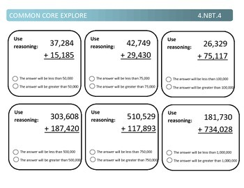 Common Core Explore 4.nbt.4 Mastering Addition and Subtraction