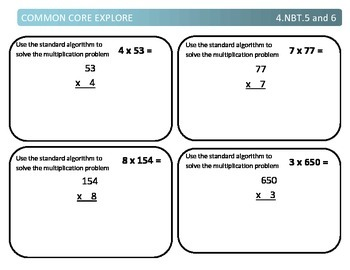 Common Core Explore 4.nbt.5 and 6 Mastering Multiplication and Division