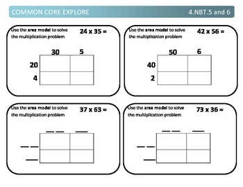 Common Core Explore 4.nbt.5 and 6 Mastering Multiplication