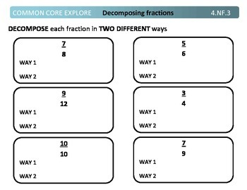 Common Core Explore 4.nf.3 operations with fractions