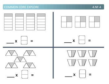 Common Core Explore 4.nf.4 multiplying fractions and whole numbers