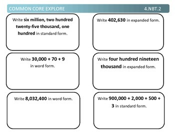 Common Core Explore Grade 4 Number and Operation in Base Ten Bundle