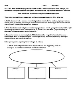Common Core - Expository Essay Check List / Organizer / Outline