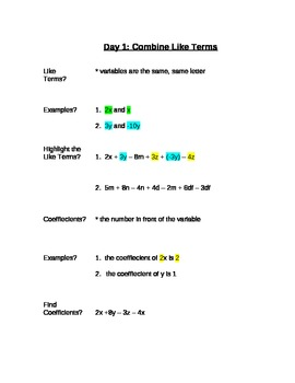 Common Core Expressions & Equations Unit - Complete Unit 8th Grade