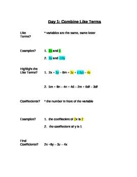 Common Core Expressions & Equations Unit - Complete Unit 8th Grade