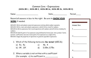Common Core - Expressions (MCC6.EE.1, 2, 2a, 2b, 3)
