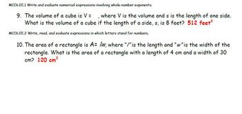 Common Core - Expressions Quizzes (2 Quizzes)