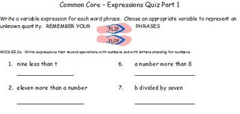 Common Core Expressions Quiz Part 1 and Part 2