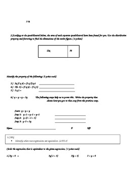 Common Core Expressions and Equations Checkpoint Bundle