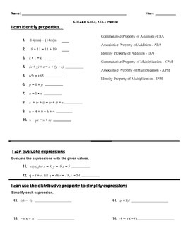 Common Core - Expressions and Equations review