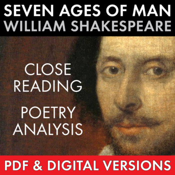 """""""Seven Ages of Man"""" Close Read Shakespeare's Poem, Extended Metaphor, CCSS"""