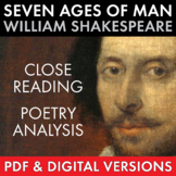 """""""Seven Ages of Man"""" Close Read Shakespeare, Extended Metaphor, PDF & Google App"""