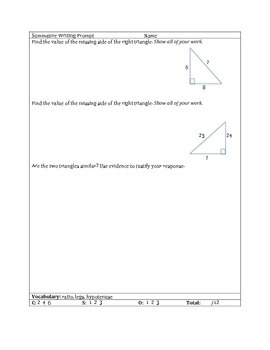 Common Core Extended Response Math Prompts