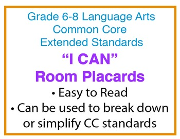 """Common Core Extended Standards """"I CAN"""" Placards 6-8 Lang Art Special Education"""