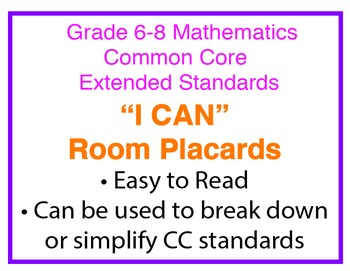"Common Core Extended Standards ""I CAN"" Placards 6-8 Math Special Education"