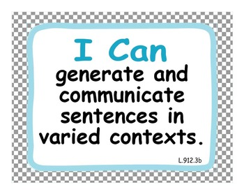 """Common Core Extended Standards """"I CAN"""" Statements 9-12 LangArt Special Education"""