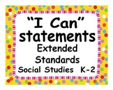 "Common Core Extended Standards ""I CAN"" Statements K-2 Social Studies Special Ed"